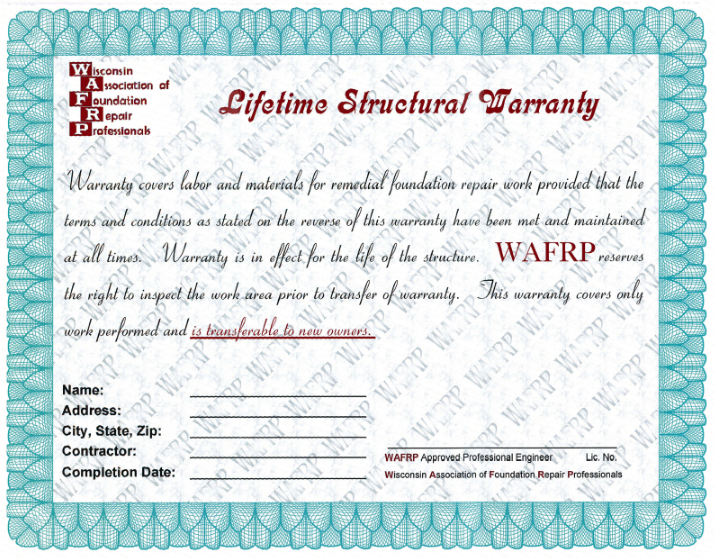 Lifetime Structural Warranty.